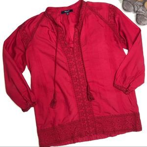 MADEWELL | sz XXS red Camelia embroidered top